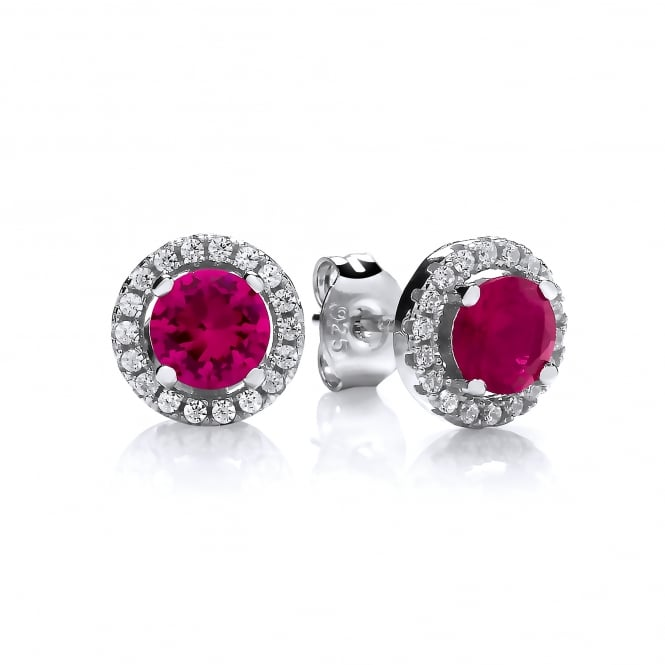 DiamonDust Jewellery Sterling Silver Red Round Cluster Medium Earrings Created with Swarovski® Zirconia