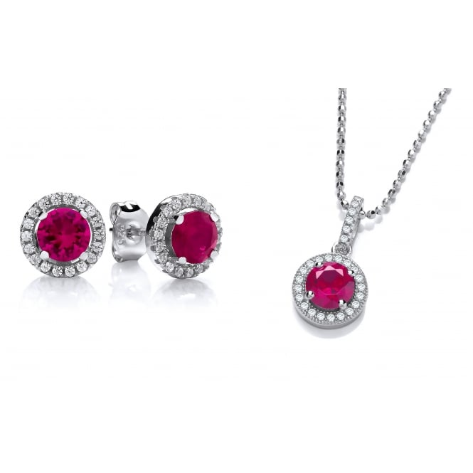 DiamonDust Jewellery Sterling Silver Red Round Cluster Necklace & Earrings Set Made with Swarovski Zirconia