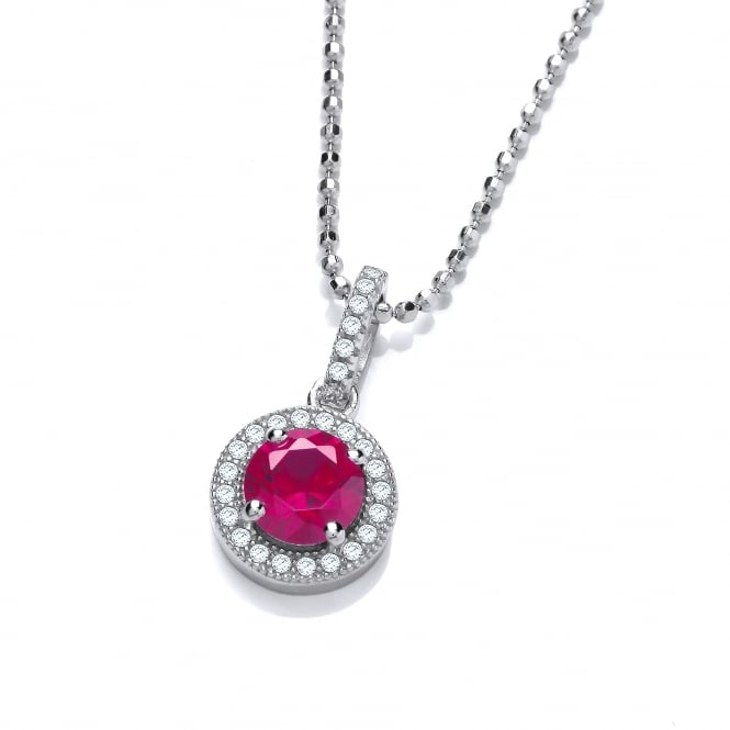 DiamonDust Jewellery Sterling Silver Red Round Cluster Necklace Made with Swarovski Zirconia