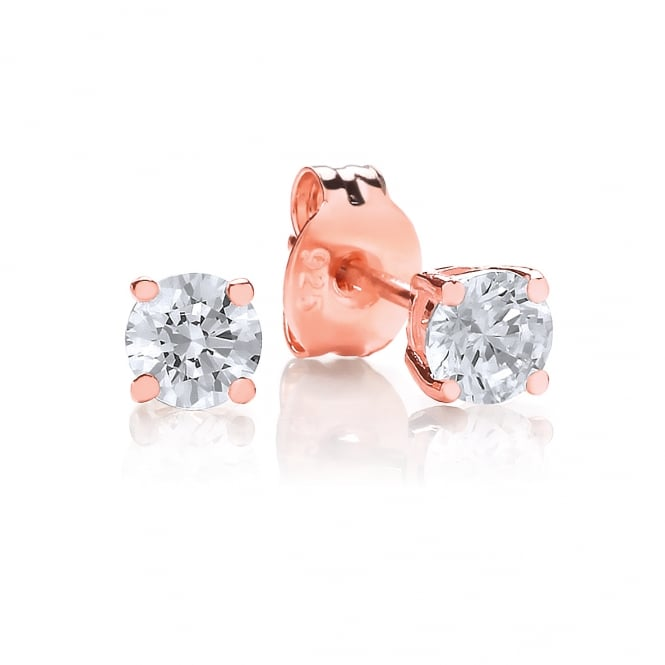 DiamonDust Jewellery Sterling Silver & Rose Gold Plated 4mm Solitaire Claw Set Studs Made with Swarovski Zirconia