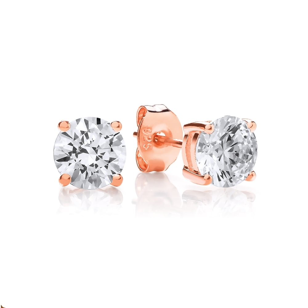 1a6316684 Sterling Silver Rose Gold Plated 6mm Solitaire Claw Set Studs Created with  Swarovski Zirconia