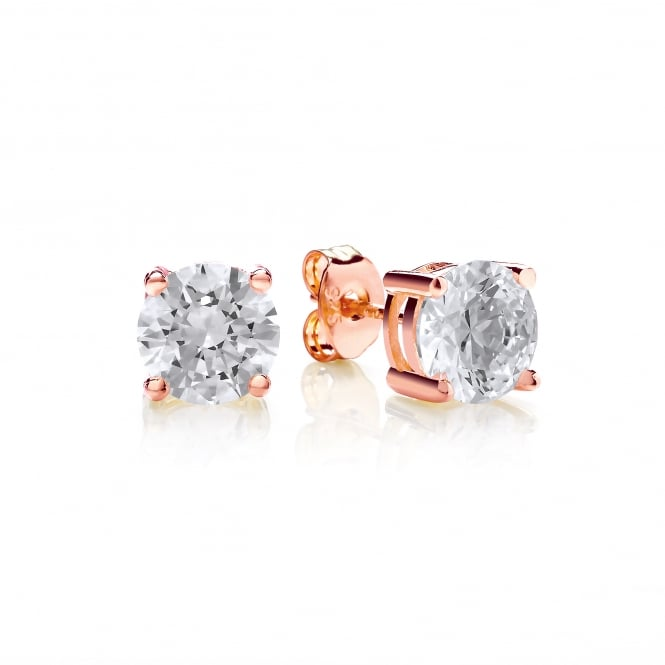 DiamonDust Jewellery Sterling Silver & Rose Gold Plated 7mm Solitaire Claw Set Studs Created with Swarovski® Zirconia