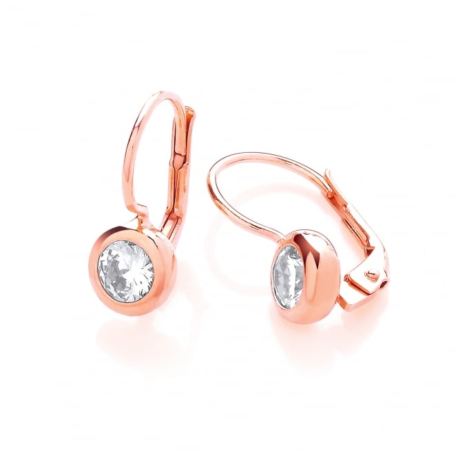 DiamonDust Jewellery Sterling Silver & Rose Gold Plated 7mm Solitaire Solid Set Drop Earrings Created with Swarovski® Zirconia