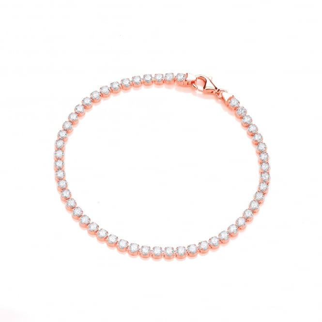 DiamonDust Jewellery Sterling Silver & Rose Gold Plated Classic Fine Tennis Bracelet Created with Swarovski® Zirconia