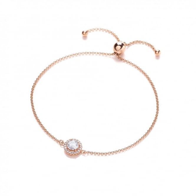 DiamonDust Jewellery Sterling Silver & Rose Gold Plated Cluster Friendship Bracelet Created with Swarovski® Zirconia