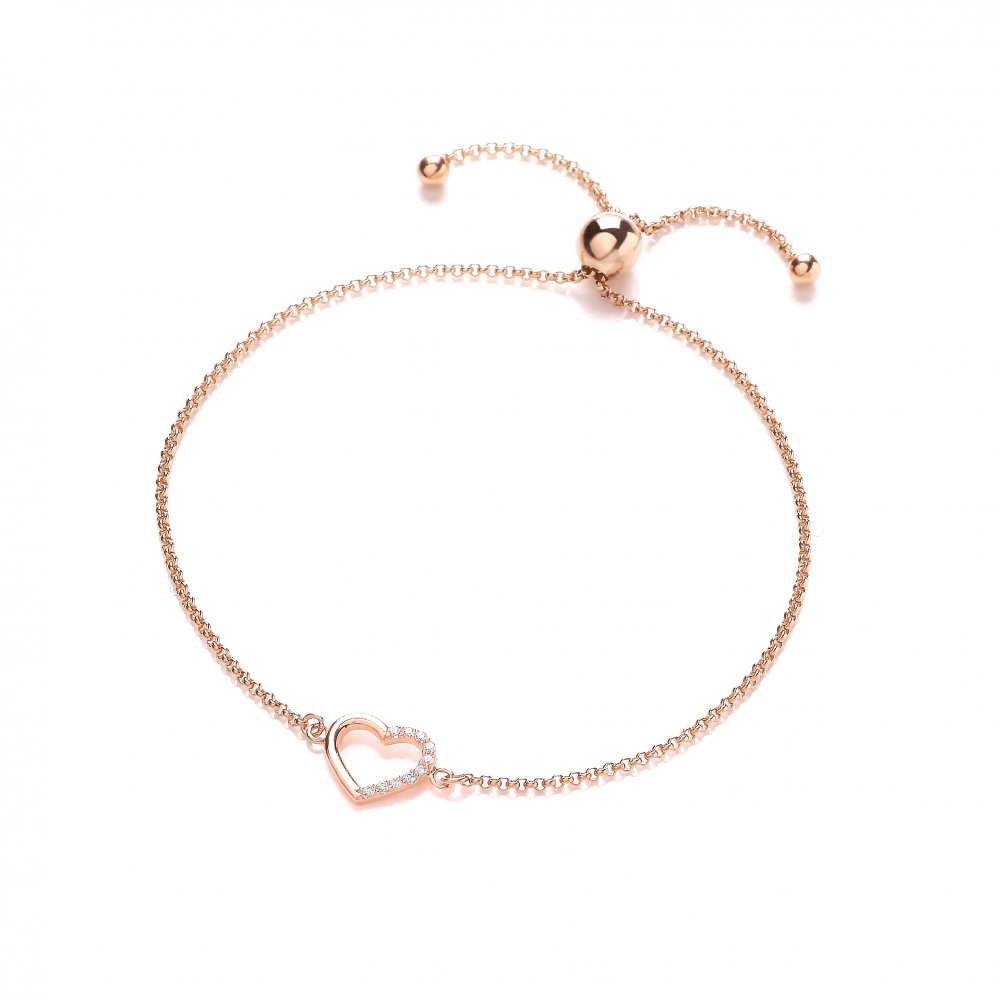 e941d4fc1d94b8 Sterling Silver & Rose Gold Plated Heart Friendship Bracelet Created  with Swarovski Zirconia