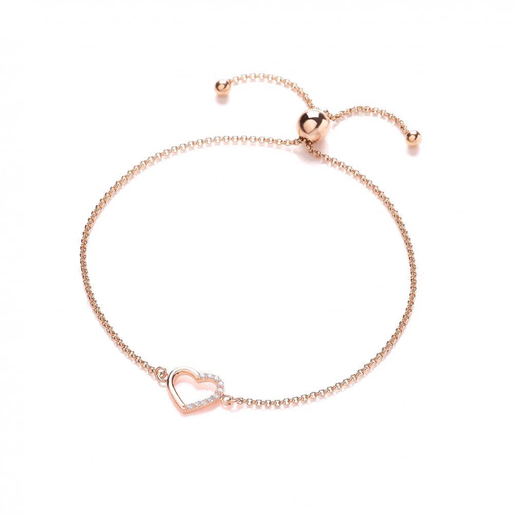 Sterling Silver Rose Gold Plated Heart Friendship Bracelet