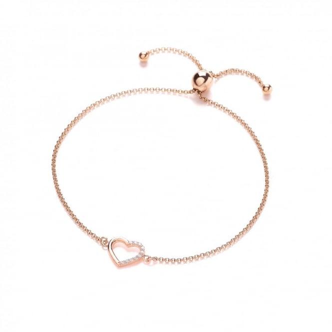 DiamonDust Jewellery Sterling Silver Rose Gold Plated Heart Friendship Bracelet