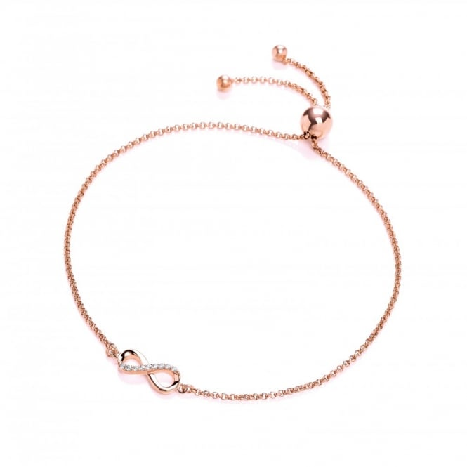 DiamonDust Jewellery Sterling Silver & Rose Gold Plated Infinity Friendship Bracelet Created with Swarovski® Zirconia