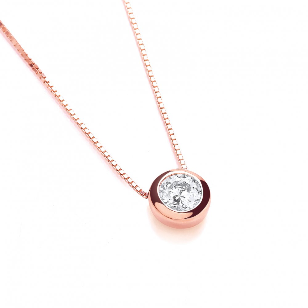 Swarovski Zirconia 6mm Solitaire Rose Gold Plated Silver Necklace