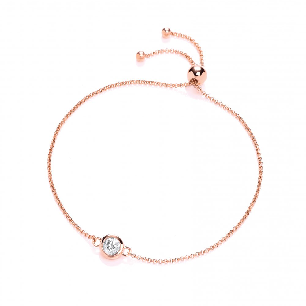 5a51c83a703e27 Sterling Silver & Rose Gold Plated Solitaire Friendship Bracelet  Created with Swarovski Zirconia