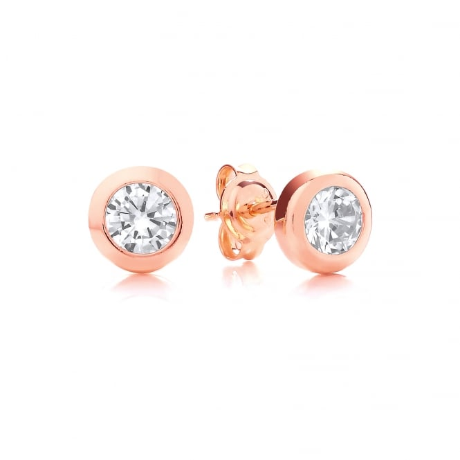 DiamonDust Jewellery Sterling Silver & Rose Gold Plated Solitaire Solid Set Earrings Made with Swarovski Zirconia