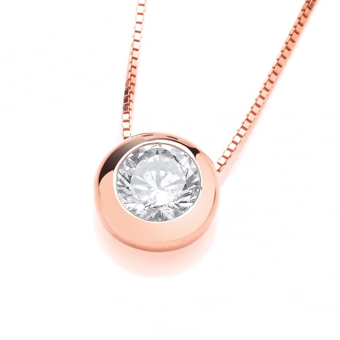 DiamonDust Jewellery Sterling Silver Rose Gold Plated Solitaire Solid Set Solitaire Necklace Made with Swarovski Zirconia