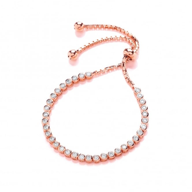 DiamonDust Jewellery Sterling Silver & Rose Gold Plated Tennis Friendship Bracelet Created with Swarovski® Zirconia