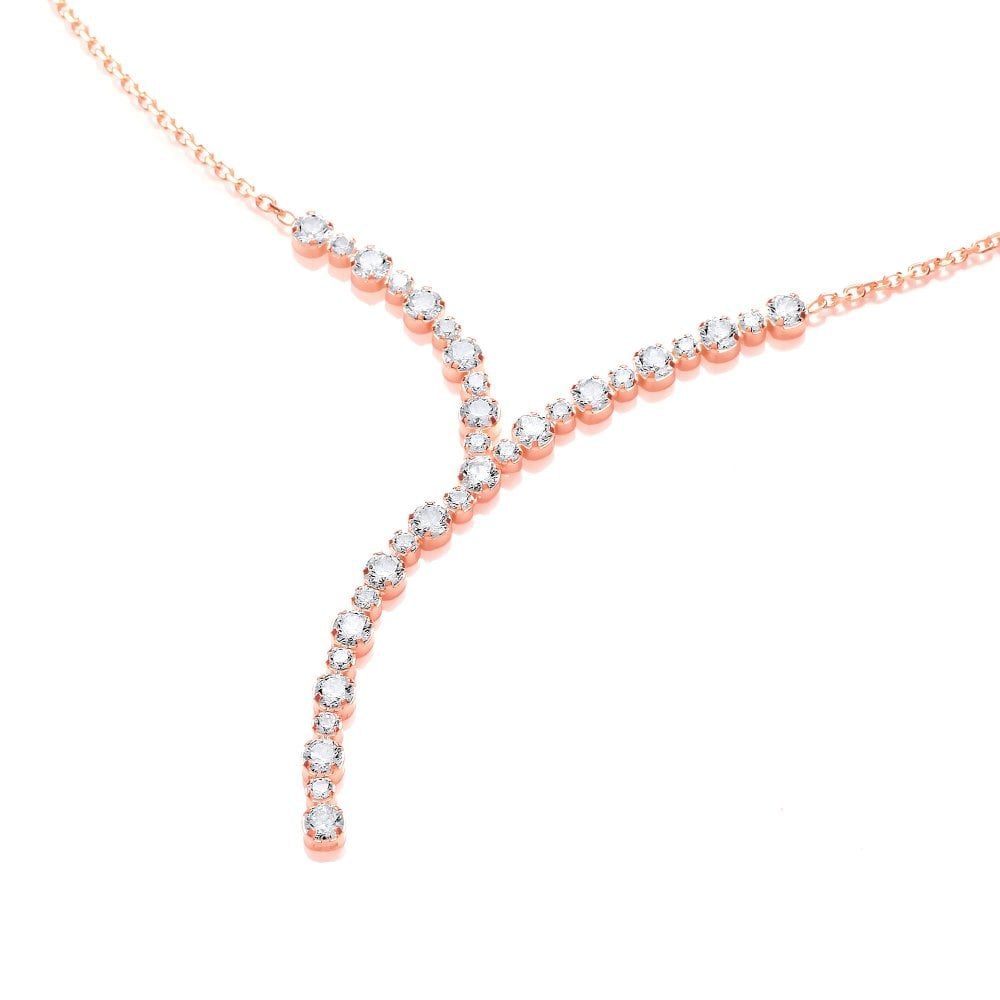 d28a94c3de94d Sterling Silver Rose Gold Plated Y-Shaped Drop Necklace Created with  Swarovski Zirconia