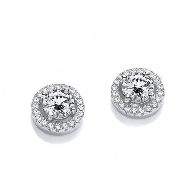 DiamonDust Jewellery Sterling Silver Round Cluster Medium Earrings Made with Swarovski Zirconia