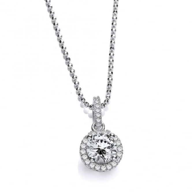 DiamonDust Jewellery Sterling Silver Round Cluster Necklace Created with Swarovski® Zirconia