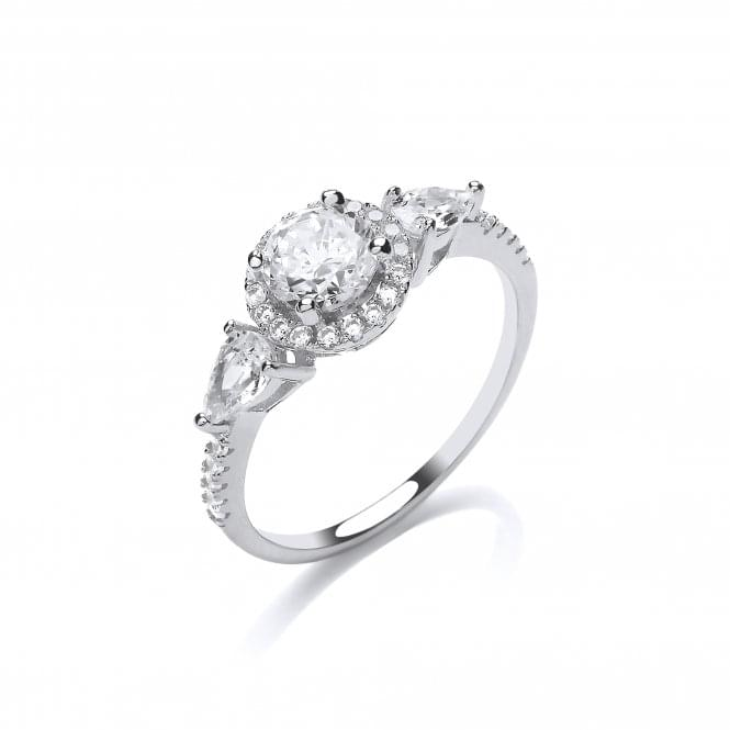 DiamonDust Jewellery Sterling Silver Round Cluster & Pear Cut 3 Stone Ring Created with Swarovski® Zirconia