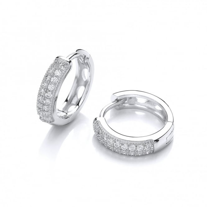 DiamonDust Jewellery Sterling Silver Round Hoop Earrings Created with Swarovski® Zirconia