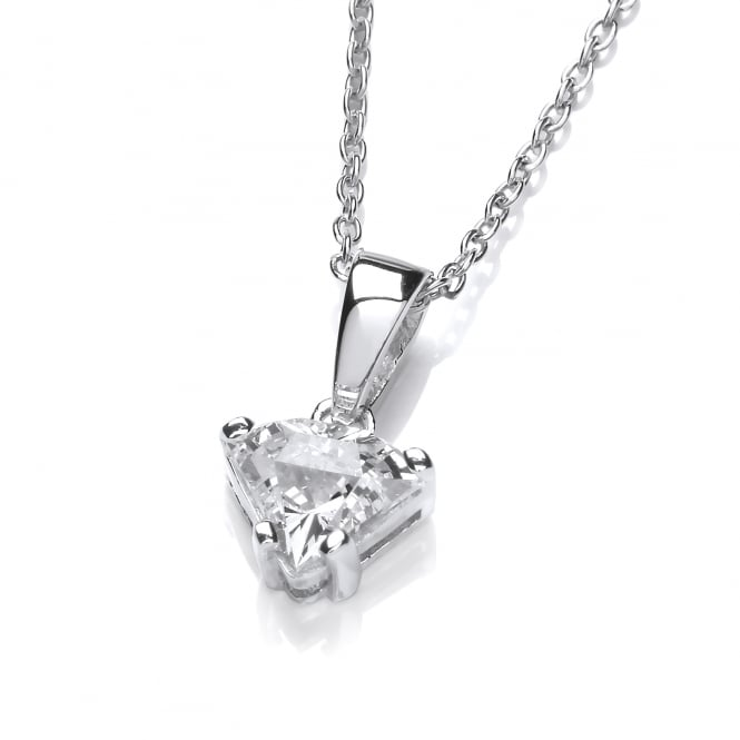 DiamonDust Jewellery Sterling Silver Side View Cut Pendant & Chain Made with Swarovski Zirconia