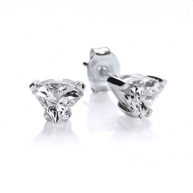 DiamonDust Jewellery Sterling Silver Side View Cut Small Stud Earrings Created with Swarovski® Zirconia