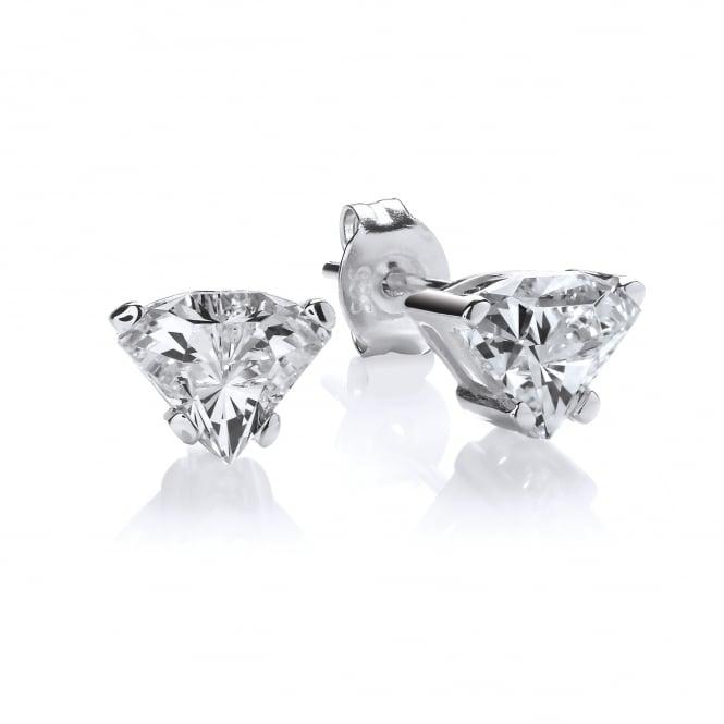 DiamonDust Jewellery Sterling Silver Side View Cut Stud Earrings Made with Swarovski Zirconia