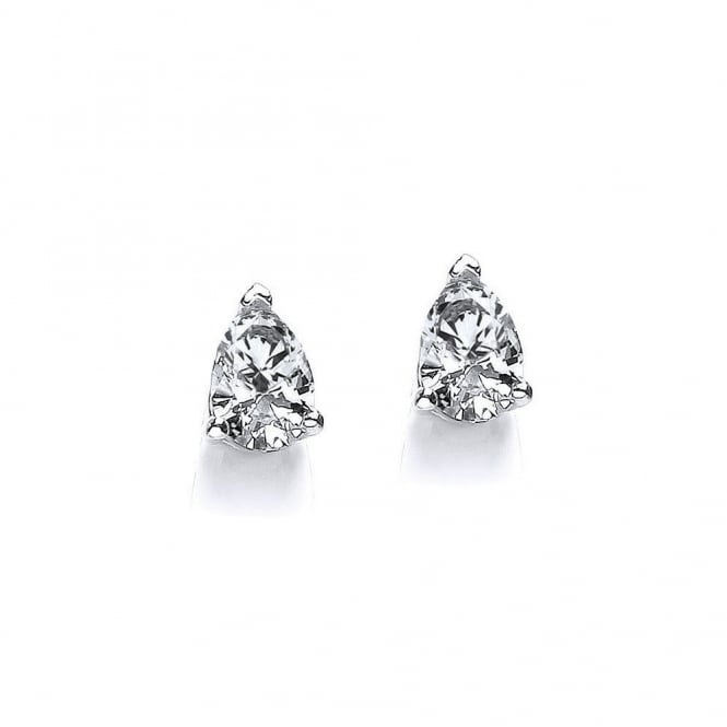 DiamonDust Jewellery Sterling Silver Simple Tear Drop Claw Set Studs Made with Swarovski Zirconia