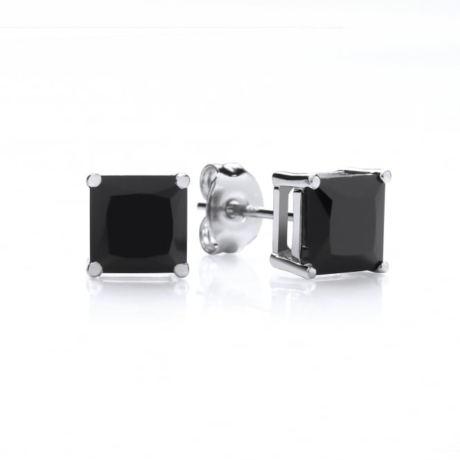 DiamonDust Jewellery Sterling Silver Small Black Square Studs Made with Swarovski Zirconia