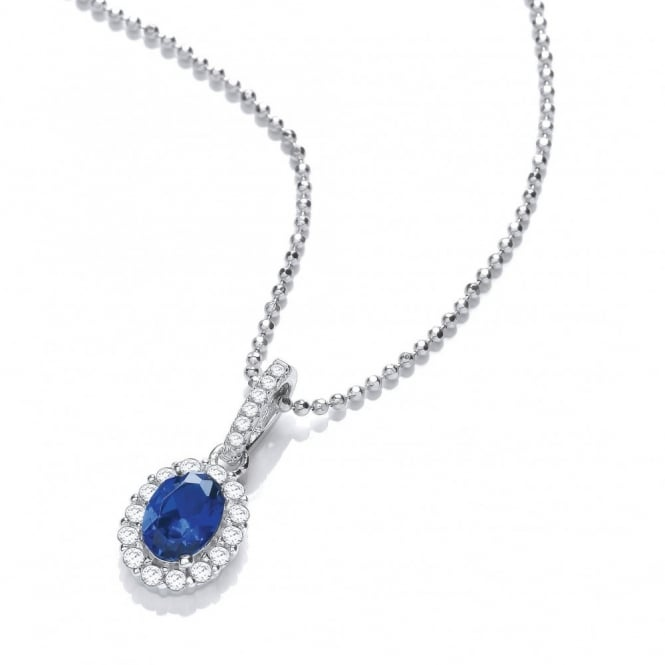 DiamonDust Jewellery Sterling Silver Small Blue Oval Necklace Created with Swarovski® Zirconia