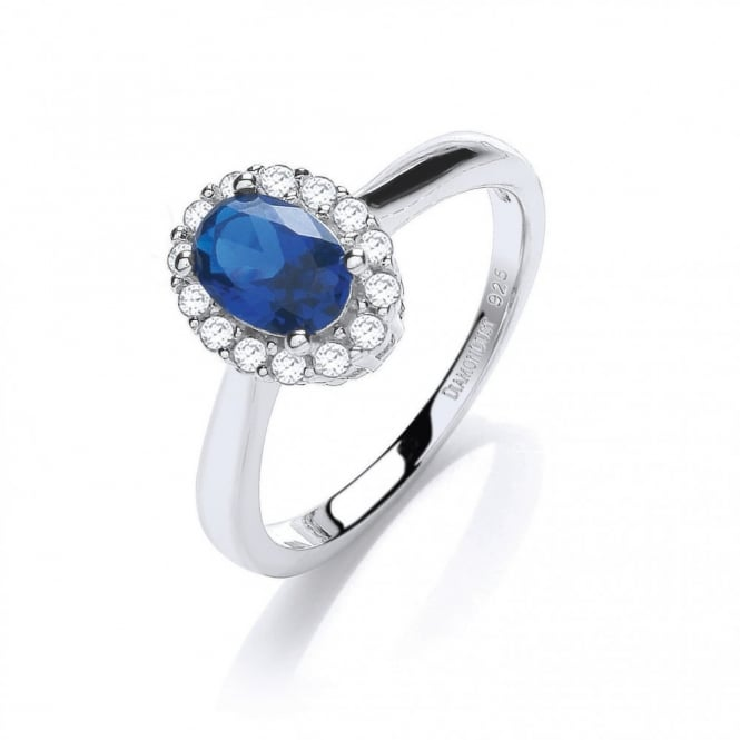 DiamonDust Jewellery Sterling Silver Small Blue Oval Ring Made with Swarovski Zirconia