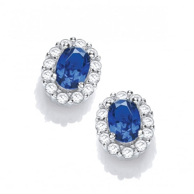 DiamonDust Jewellery Sterling Silver Small Blue Oval Studs Created with Swarovski® Zirconia