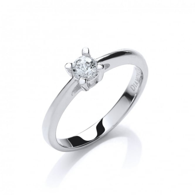 DiamonDust Jewellery Sterling Silver Small Claw Set Solitaire Ring Created with Swarovski® Zirconia