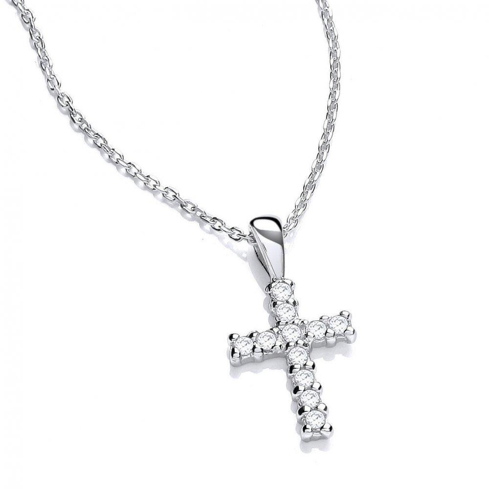 Correctamente Valiente trabajo  Swarovski Zirconia Sterling Silver Necklace Small Cross by David Deyong
