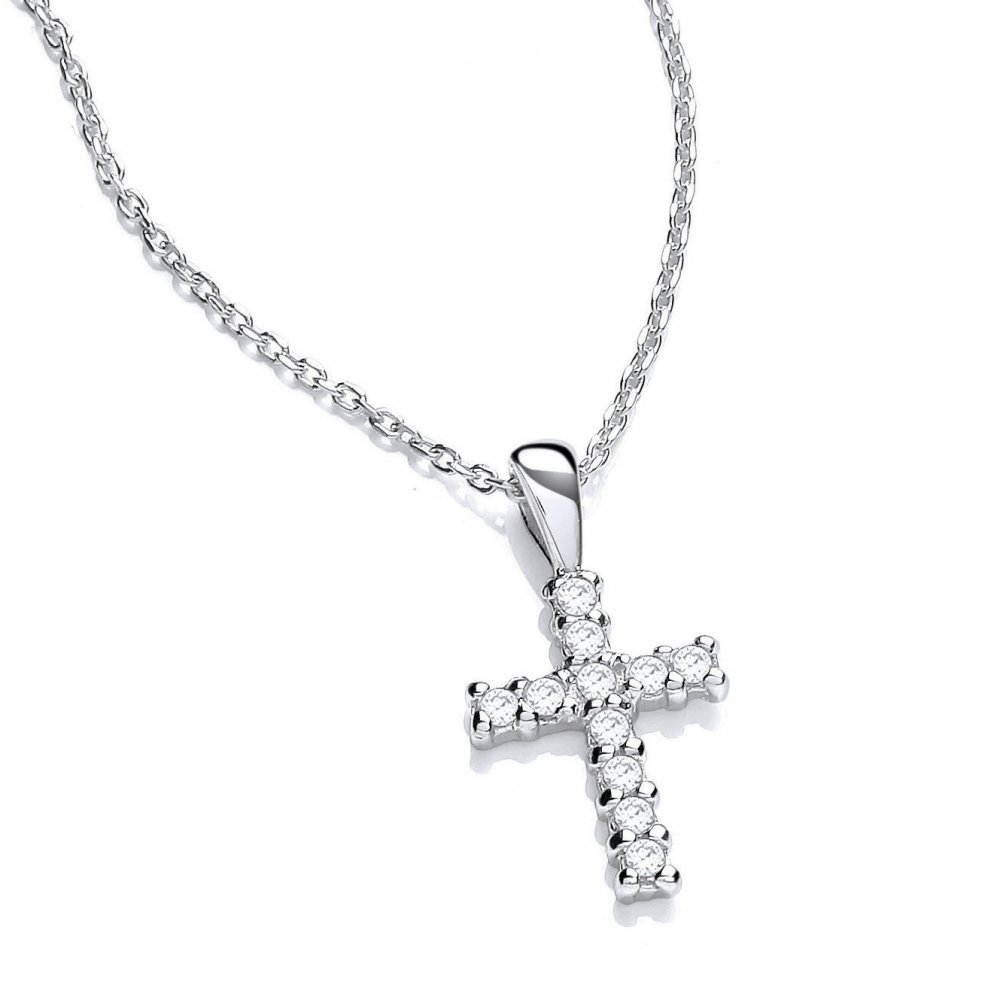 Swarovski zirconia small cross sterling silver necklace david deyong sterling silver small cross pendant and chain made with swarovski zirconia mozeypictures Images