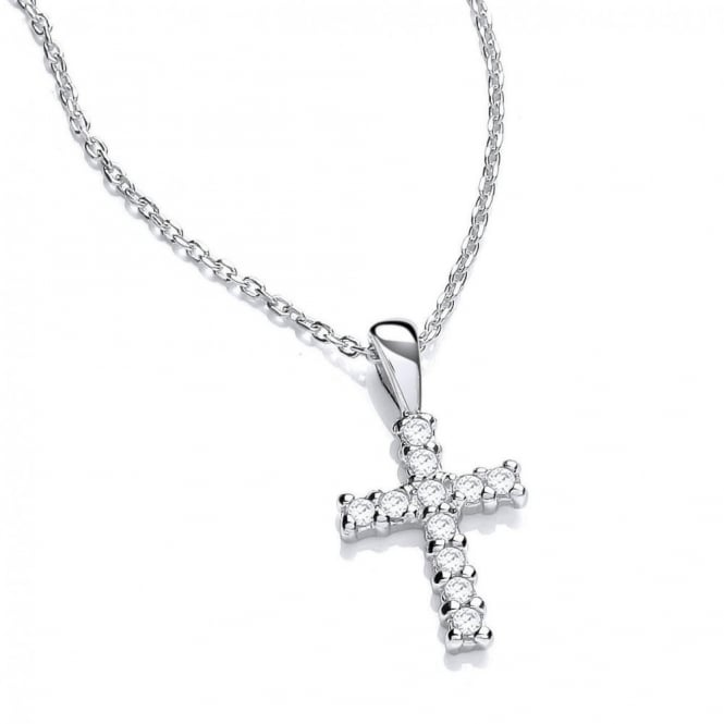 DiamonDust Jewellery Sterling Silver Small Cross Pendant and Chain Made with Swarovski Zirconia