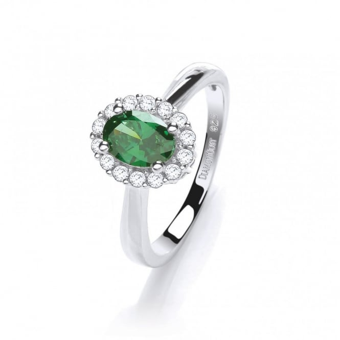 DiamonDust Jewellery Sterling Silver Small Green Oval Ring Made with Swarovski Zirconia