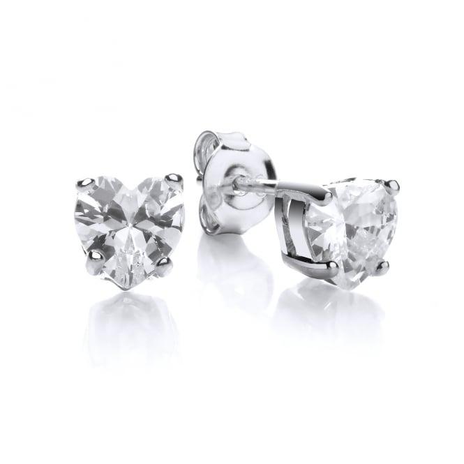 DiamonDust Jewellery Sterling Silver Small Heart Claw Set Studs Made with Swarovski® Zirconia