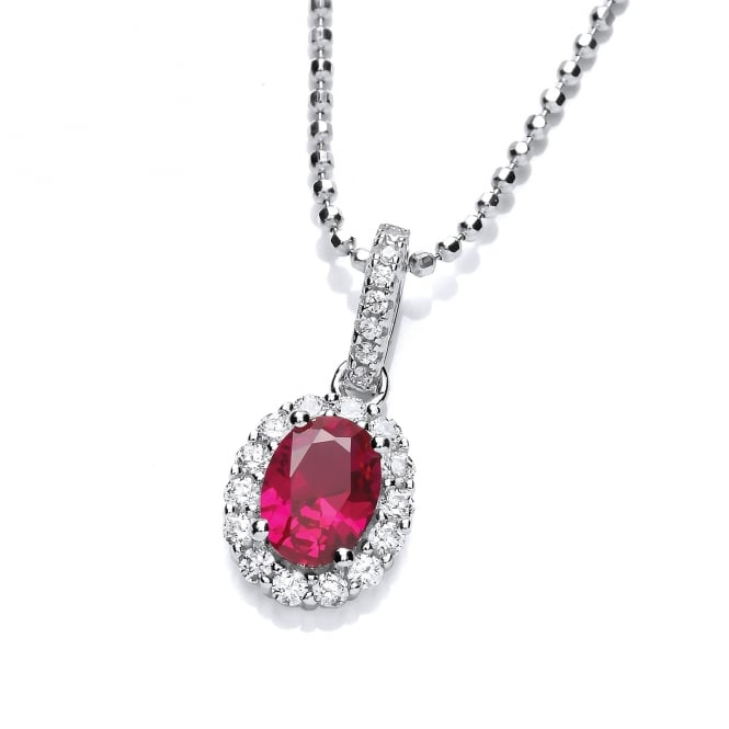 DiamonDust Jewellery Sterling Silver Small Red Oval Necklace Made with Swarovski Zirconia