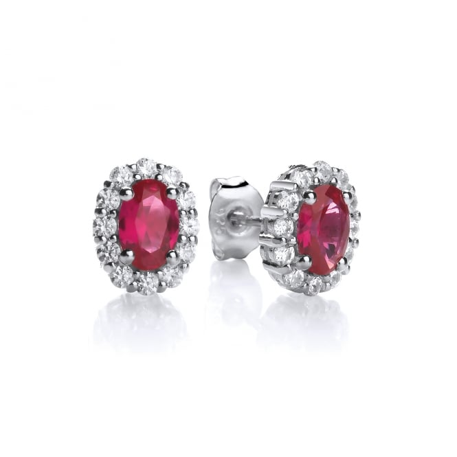 DiamonDust Jewellery Sterling Silver Small Red Oval Studs Made with Swarovski Zirconia