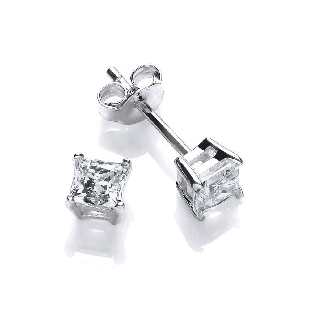 Sterling Silver Small Square Solitaire Studs Made With Swarovski Zirconia