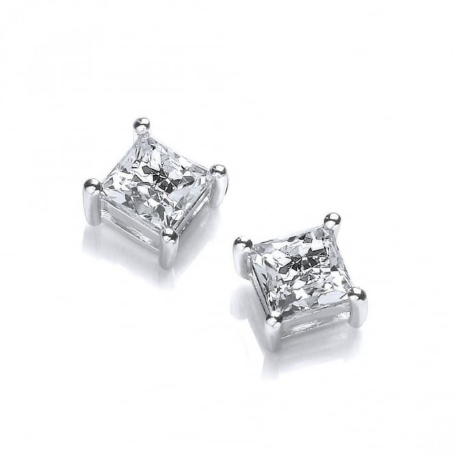 DiamonDust Jewellery Sterling Silver Small Square Studs Created with Swarovski® Zirconia
