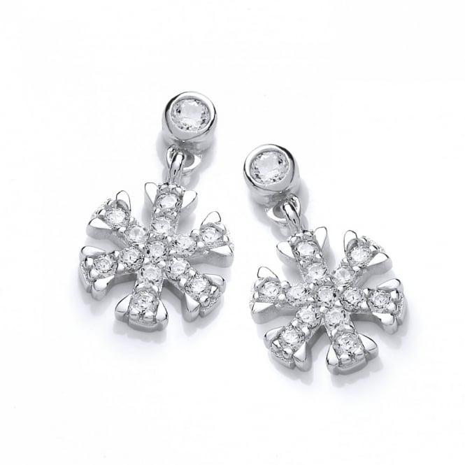 DiamonDust Jewellery Sterling Silver Snowflake & Ice Drop Earrings Made with Swarovski Zirconia
