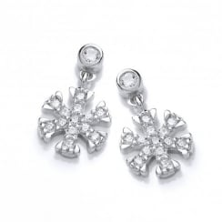 Sterling Silver Snowflake & Ice Drop Earrings Made with Swarovski Zirconia