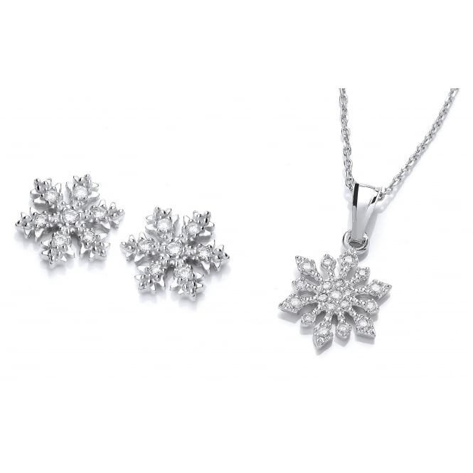 DiamonDust Jewellery Sterling Silver Snowflake Necklace & Earrings Set Made with Swarovski Zirconia