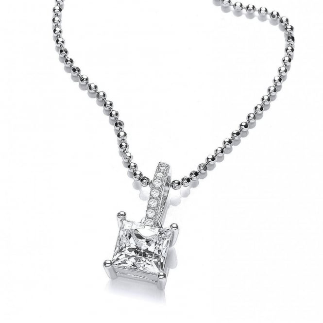 DiamonDust Jewellery Sterling Silver Solitaire Classic Drop Pendant & Chain Made with Swarovski Zirconia