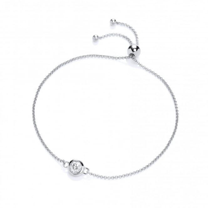 DiamonDust Jewellery Sterling Silver Solitaire Friendship Bracelet