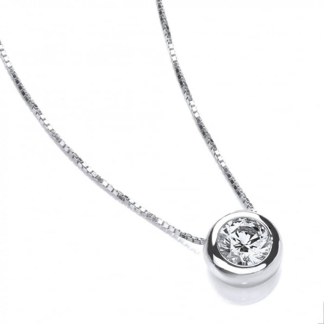 DiamonDust Jewellery Sterling Silver Solitaire Solid Set Solitaire Necklace Made with Swarovski Zirconia