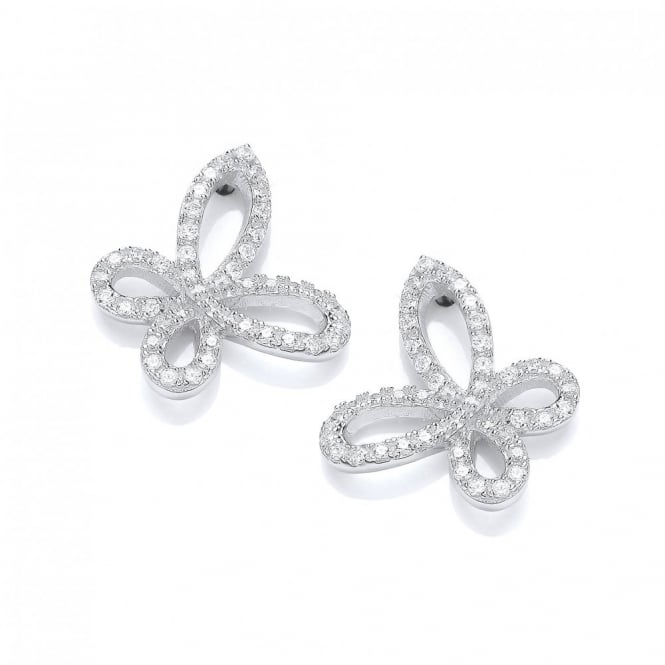 DiamonDust Jewellery Sterling Silver Sparkly Butterfly Stud Earrings Made With Swarovski Zirconia