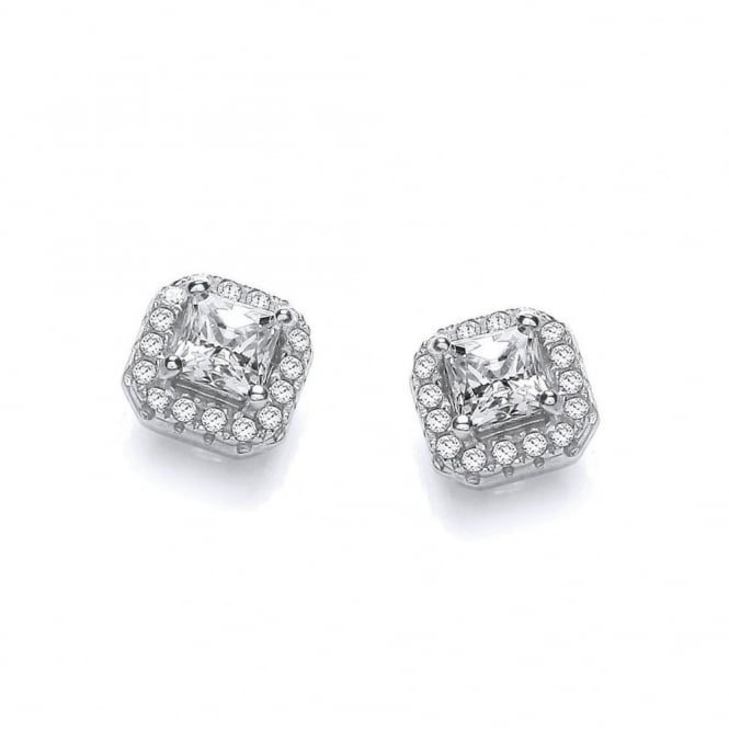 DiamonDust Jewellery Sterling Silver Square Cluster Medium Earrings Made with Swarovski Zirconia