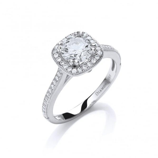 DiamonDust Jewellery Sterling Silver Square Cluster Ring Made with Swarovski Zirconia